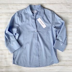 NWT Foxcroft Easy Care Solid Poplin Blouse